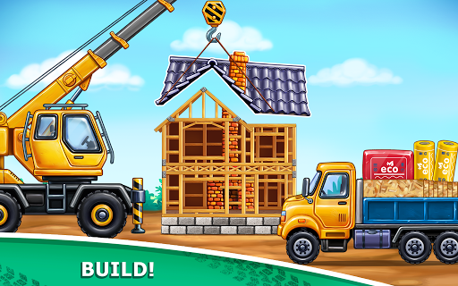 Truck games for kids - build a house  car wash